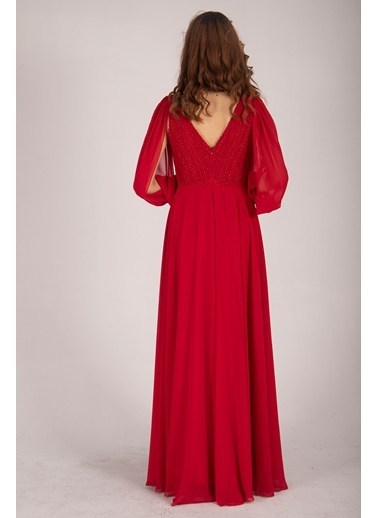 Belamore  Kırmızı Uzun Kollu Önü Dantel Ve Sim Işlemeli Şifon Abiye&Mezuniyet Elbisesi 9704809.08 Kırmızı